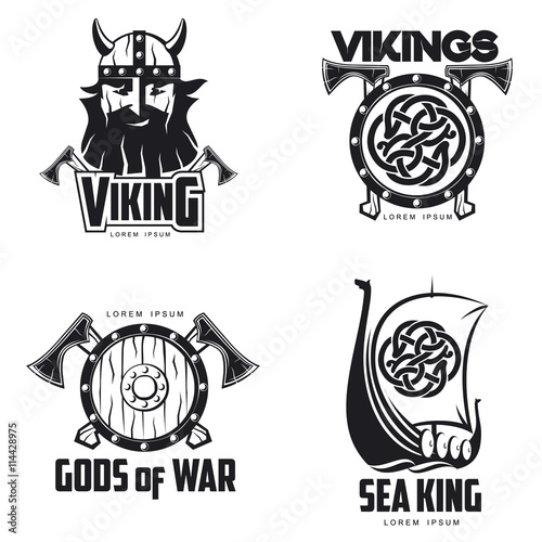 Scandinavian Viking Set Of Logos Vector Illustration Outline