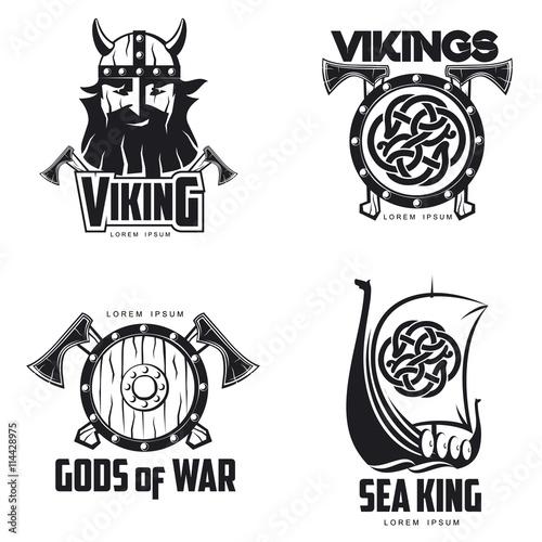 005fe54cf8cd6 Scandinavian Viking set of logos, vector illustration outline isolated on white  background set of logos with Viking shield Scandinavian boat and head, ...