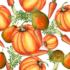 Seamless pattern of watercolor food