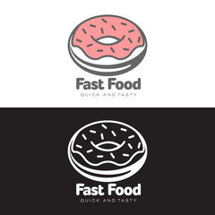 logo sweet donut with icing, vector simple illustration isolated on white background, logo design confectionery, sweet donut with pink frosting and chocolate chips, fast food sweets design firm