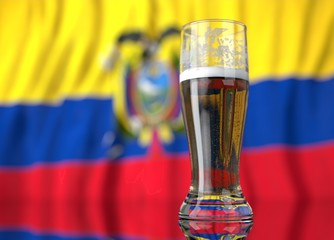 a glass of beer in front a Ecuadorian flag. 3D illustration rendering.