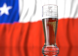 a glass of beer in front a chilean flag. 3D illustration rendering.