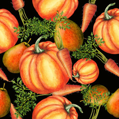 Seamless pattern of hand drawn fruits and vegetables
