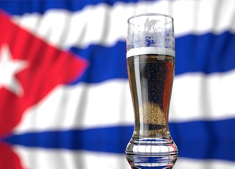 a glass of beer in front a cuban flag. 3D illustration rendering.