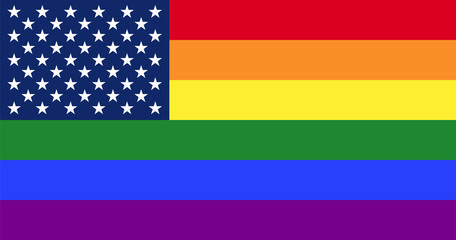 Gay America. LGBT pride flag with star field from US Flag. Gay pride flag, consisting of six rainbow colored stripes. Star field from the Flag of the United States with fifty stars on blue rectangle.