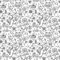 Doodle summer set vector seamless pattern. Animals, birds, flowers, fruits hand drawn illustration background.