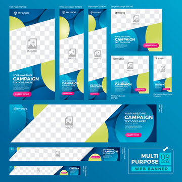 Multipurpose Ad banner design template. Standard size web banner set.