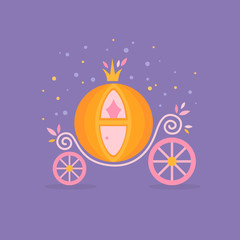 Fairy-tale illustration of pumpkin carriage from Cinderella