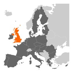 Fototapeta Brexit theme map - map of Europe with highlighted EU member states and United Kingdom in different color. Vector illustration. Simplified map of European Union.