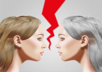 Frauenprofil alt und jung Streit