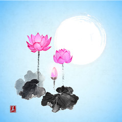 Lotus flowers and the moon on blue background. Traditional Japanese ink painting sumi-e. Contains hieroglyph - beauty