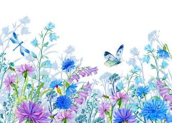 background of flowers.watercolor illustration.Wildflowers and butterflies. design for fabric ,cards ,Wallpapers