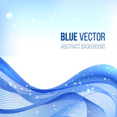 Blue abstract vector background. Wavy lines, fabric folds. Abstract background for business presentations, round template with empty space for your text. Vector.