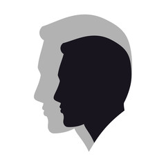 Силуэт головы мужчины с большой тенью.