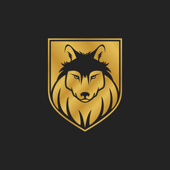 Dog or wolf head logo or icon in one color. Golden shield. Security concept - vector illustration.