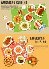 Colorful flat icon of american barbecue dinner