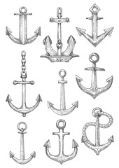 Decorative nautical anchors with chain and rope