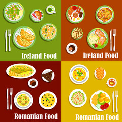 National dishes of irish and romanian cuisines