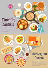 Popular dishes of finnish and norwegian cuisines