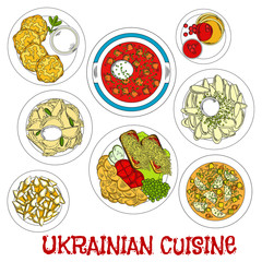 Sketched ukrainian meatless dishes for Lent icon