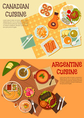 Canadian and argentine dishes for picnic icon