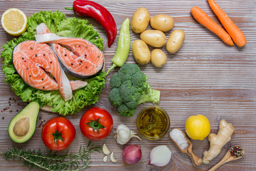 Salmon fillets and summer vegetable ingredients.