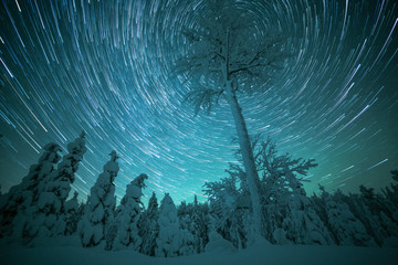 Star trails in sky, Finland
