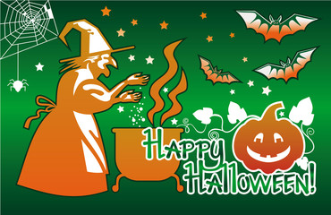 "Halloween card with a witch flying on broom and holiday greeting ""Happy Halloween!"".Vector clip art."