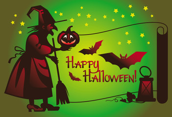 Wall Mural - Halloween card with a witch flying on broom and holiday greeting