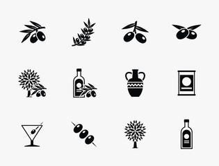 Wall Mural - Olive oil vector icons