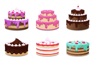 Wall Mural - Cakes vector set. Icons on white background