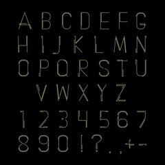 Hipster linear font, vector alphabet