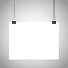 White blank paper hanging sign. Vector mockup