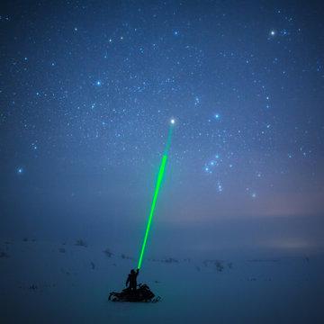 Night sky with laser beam, Lapland
