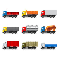 Trucks icons vector set
