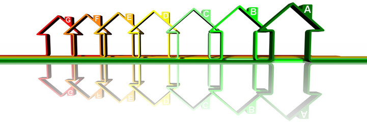 Case, abitazioni stilizzate a simboleggiare efficienza  e risparmio energetico..