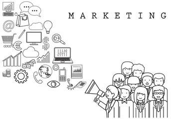 Marketing Team - On White Background - Vector Illustration, Graphic Design. For Web,Websites, Print Materials