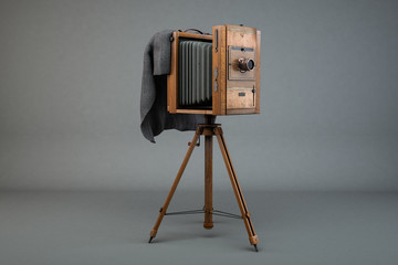 Antike Holz-Plattenkamera