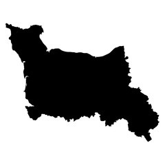 Lower Normandy black map on white background vector