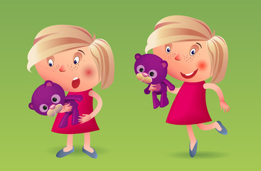 The girl with a soft toy fun and surprised