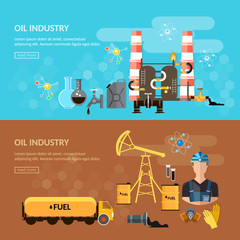 Oil industry banner oil refining extraction