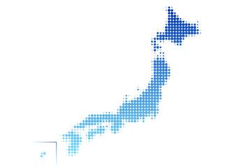 日本地図 ドット イラスト 青 グラデーション