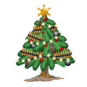 Christmas tree in military style with toys weapons