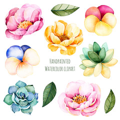 Handpainted watercolor flowers and leaves.10 watercolor clipart with roses,succulent plants,leaves and pansy flowers.Can be used for you unique project,greeting cards,wedding,blogs,patterns,invitation