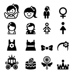 Girl icon set