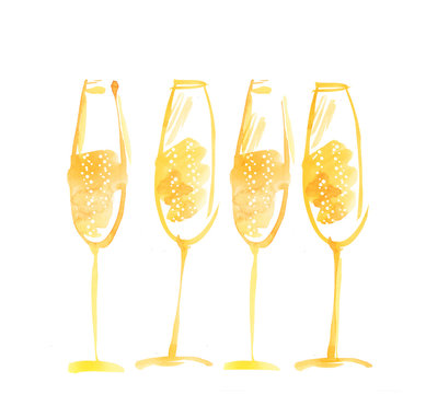 hand drawn watercolor champagne. watercolor illustration of spar
