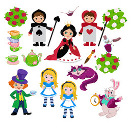 Alice in Wonderland. Vector set of characters.