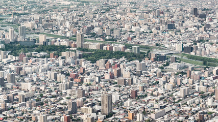 Sapporo city in the evening of springtime, View Sapporo from mount Moiwa Hokkaido Japan