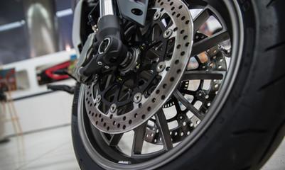New shiny brake discs on motorcycle