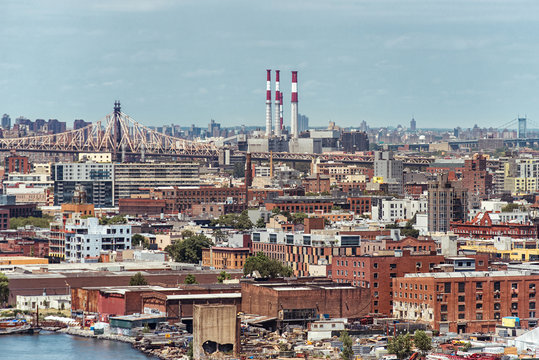 Ariel view to Brooklyn in New York with bridges and power plant